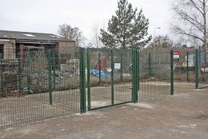 The new site's fenced off compound, which Mike is considering renting out