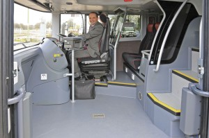 The revised Elitei entrance area with wheelchair restraint dismounted. USB and 240v power is provided for the wheelchair position