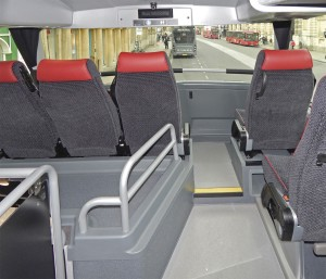 The revised overdeck area with single seats on the offside