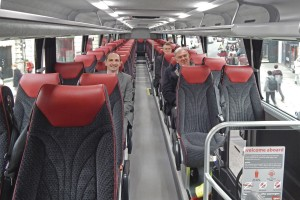 Well spaced seats on the upper deck. The 'passengers' are (LtoR) Oxford Bus Company's MD Phil Southall and Commercial Manager Andy Morison with Volvo's Adrian Wickens