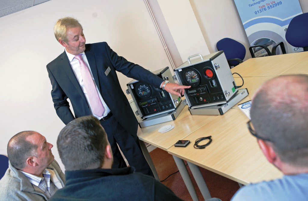 Derek Broomfield of Novadata carrying out some tachograph training