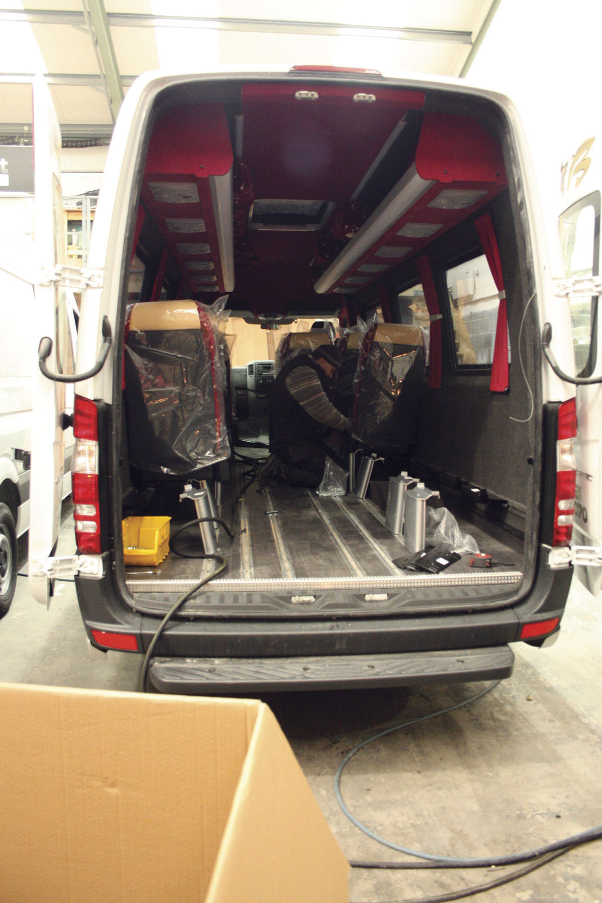 Fitting out of the interior of a Sprinter minicoach
