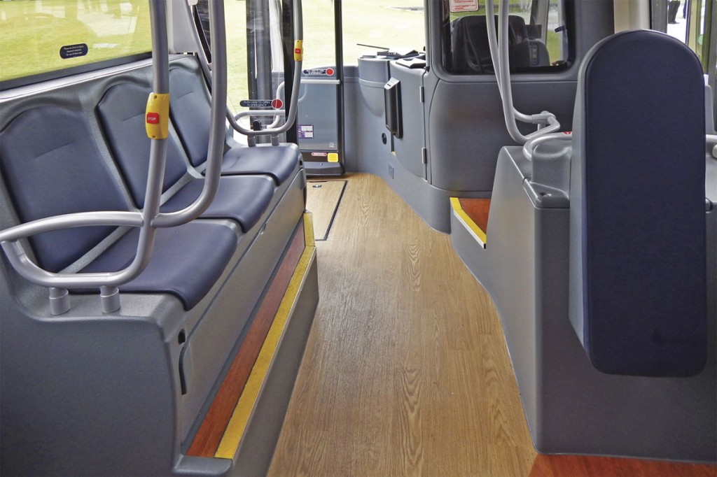 Inward facing seats are provided on the nearside wheelarch of the MetroCity