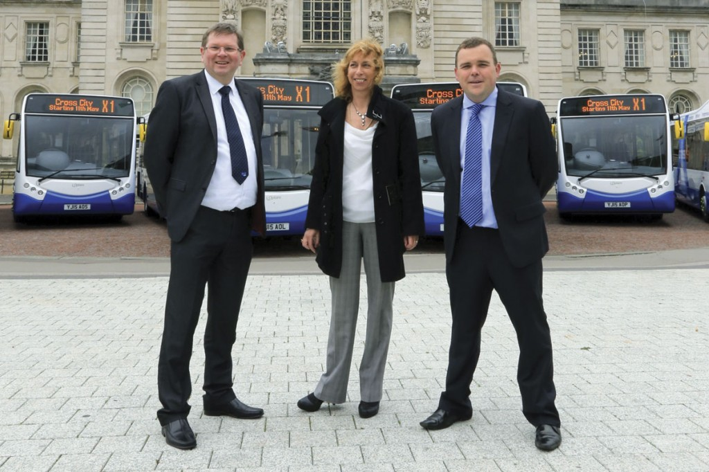 (LtoR) Robert Price, Commercial Manager NAT Group; Steph Baker, Regional Sales Manager, Optare and Kevyn Jones, Managing Director NAT Group
