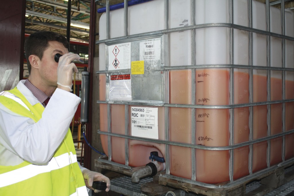 Optimum Business Development Manager, Tom Stoker, during routine on site condition monitoring of antifreeze