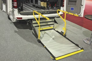 Palfinger-Ratcliffe underfloor tail lift fitted to this 19 seat Sprinter