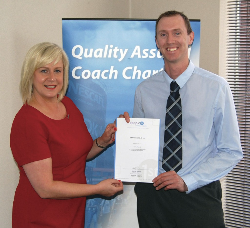 Passenger Transport Supervisor at Johnsons Coaches, Craig Sharratt, receives his course certificate from People1st's Sharon Gailey