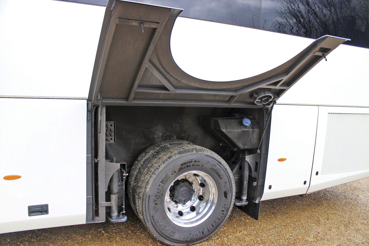 Rear wheelarches are hinged with the AdBlue tank behind the one on the nearside