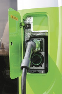 The Versa EV has connections on the nearside corner for both top up charging at the P+R site (connected) and overnight charging with balancing at the depot