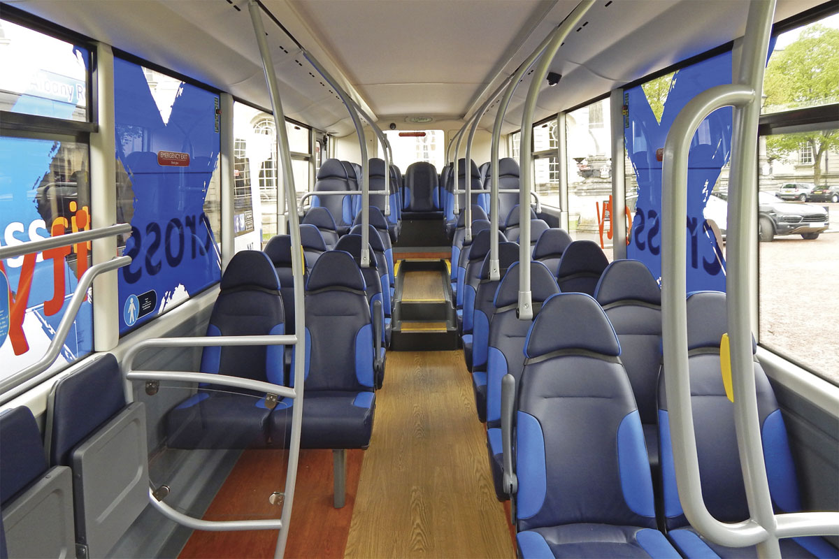 The bright interior of the MetroCity features wood effect flooring and E-leather seats
