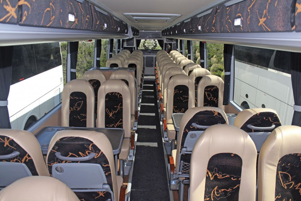 The extremely well appointed interior of the Van Hool TX16 Aston purchased last year for the Deluxe Holiday Experience