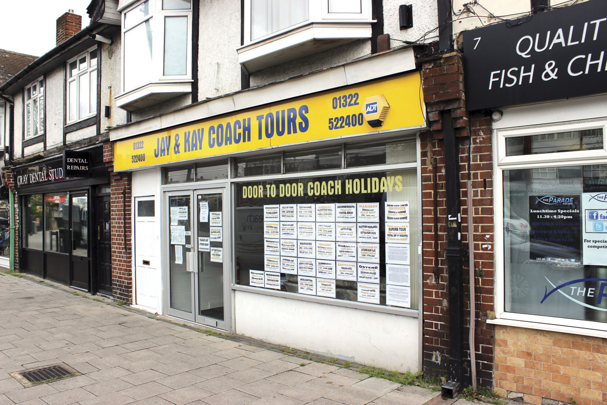 The shop frontage on The Parade on Crayford Way in Crayford