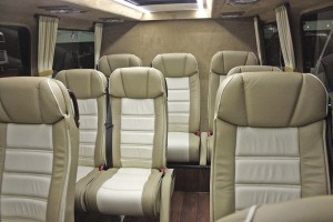 The very luxurious interior of the Kennedy Sprinter. It has just nine seats