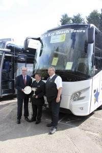 Traffic Commissioner, Kevin Rooney, presents Karl and Steve Mason with their awards at this year's UK Coach Rally