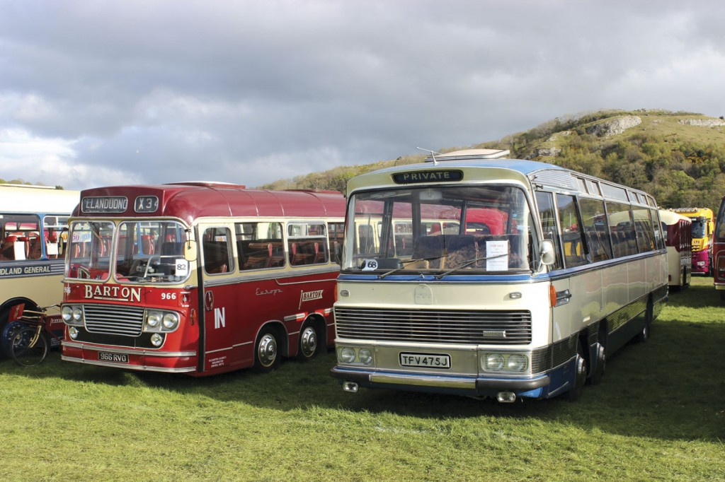 Two Bedford VALs. On the left Yeates coachwork in Barton livery, on the right, a Duple Viceroy that is for sale