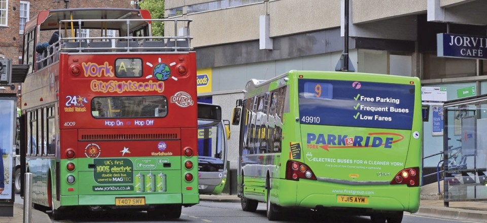 York's future? Three electric buses meet in The Stonebow, two First Versa EVs and the first of Transdev's electric double-deckers for City Sightseeing
