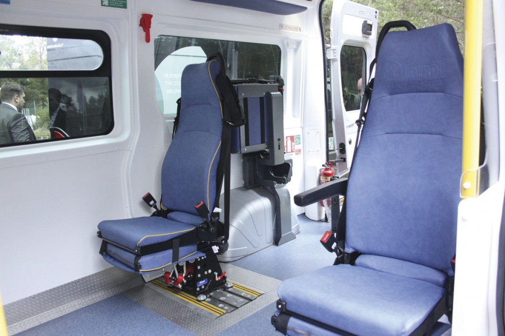 A specialised PTS ambulance built by O&H to carry Bariatric patients. Note the use of the NMI King RIPS seating. It also has a 500kg PLS tail lift