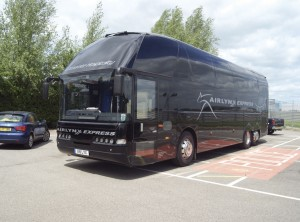 An Airlynx Express Neoplan with Mobile Onboard's Beam bw130 Wi-Fi unit installed