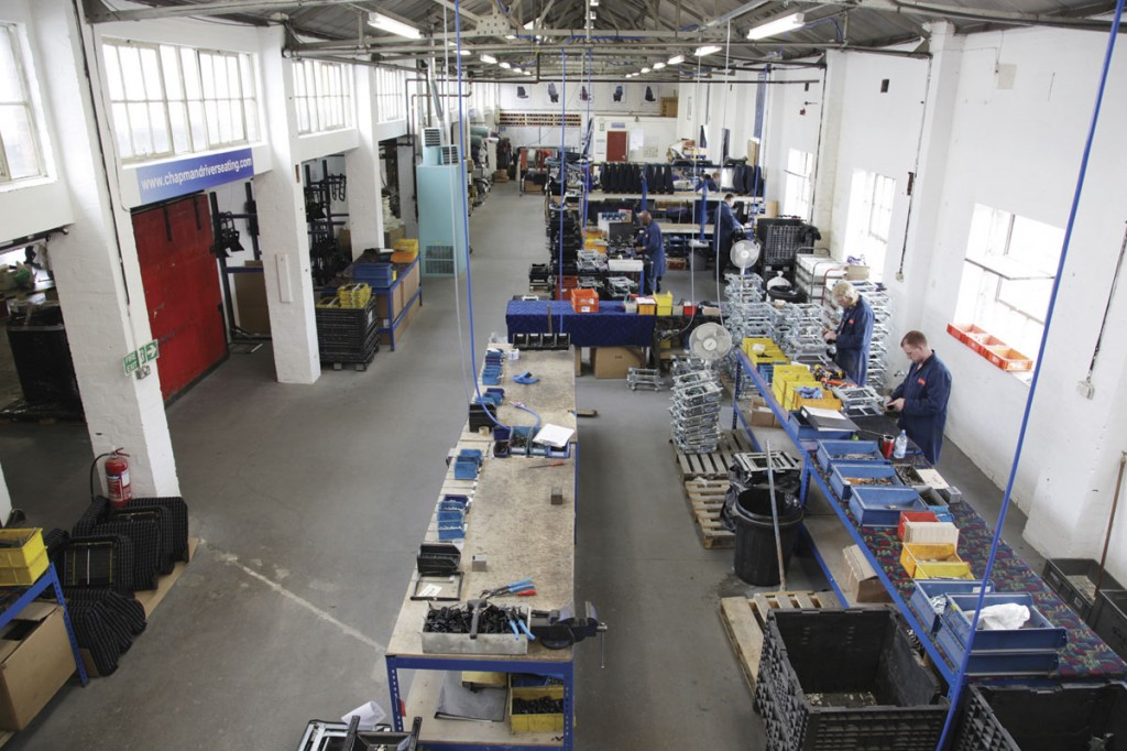 An aerial view of the workshop showing the various bays