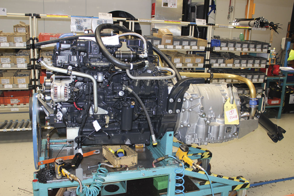 An engine alongside the line awaiting installation. Crossway employs the Tector 7 and Cursor 9 ranges from Fiat Powertrain Technologies (FPT Industrial)