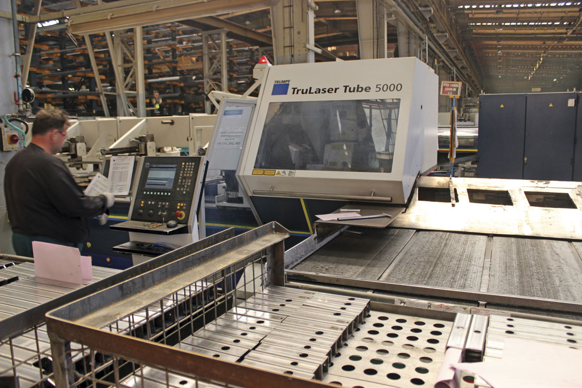 An example of the laser cutting machinery that is typical of the ongoing investment in the plant