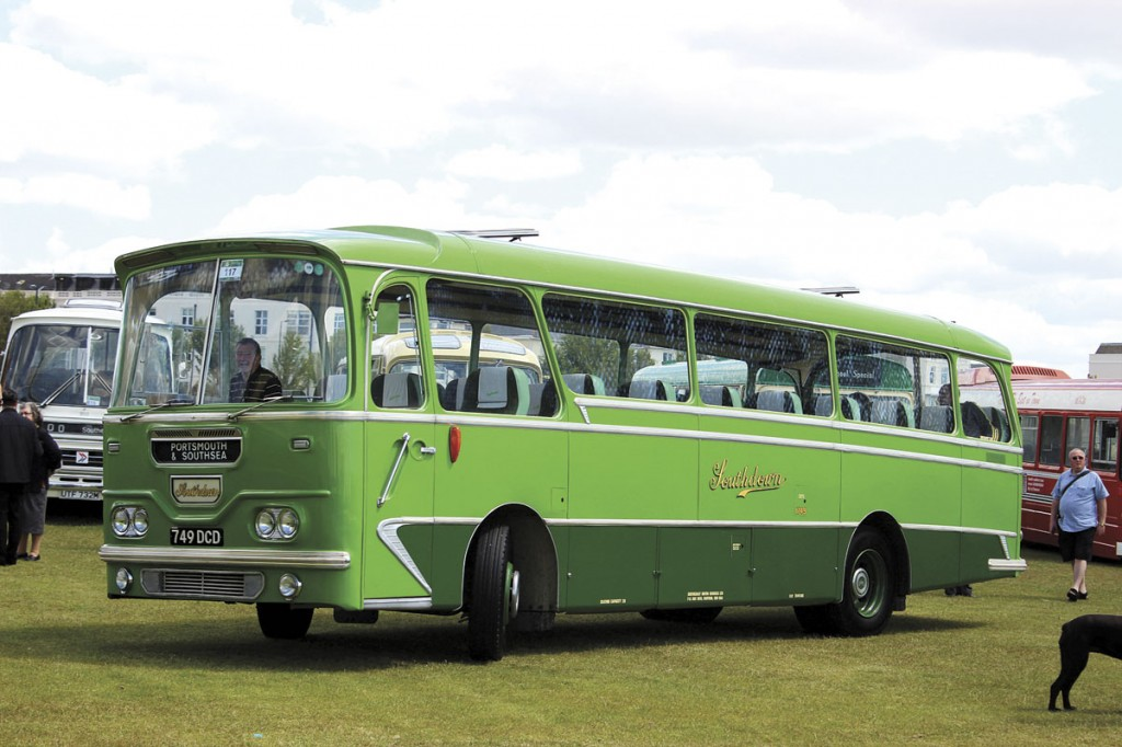 Built in 1963, this Leyland Leopard L2 has 31ft 5in long Harrington coachwork of the Grenadier style with a Cavalier style front panel. It seats 28