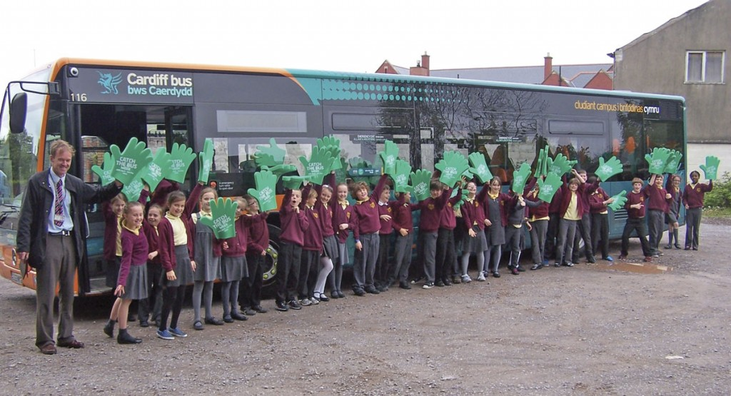 Children from Victoria Primary School in Penarth learn about bus safety during Cardiff Bus' promotional activity last year