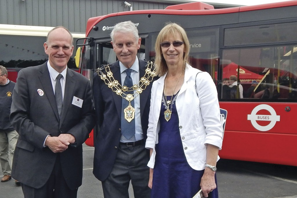 Epsom Coaches Managing Director, Steve Whiteway (left) with the Mayor of Epsom and Ewell, Councillor Chris Frost accompanied by his wife Liz
