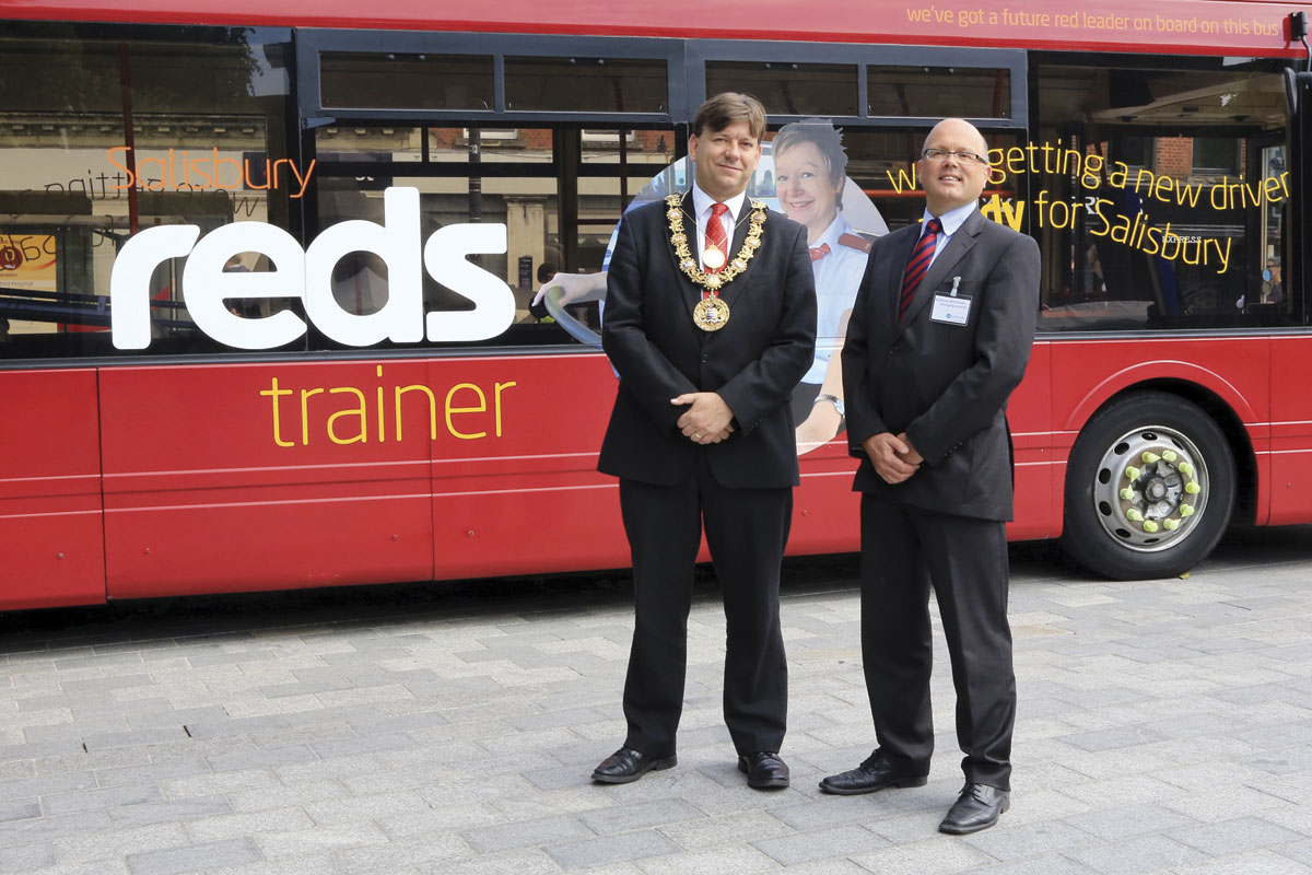 Go South Coast MD, Andrew Wickham (right) with Salisbury Mayor, Andrew Roberts.
