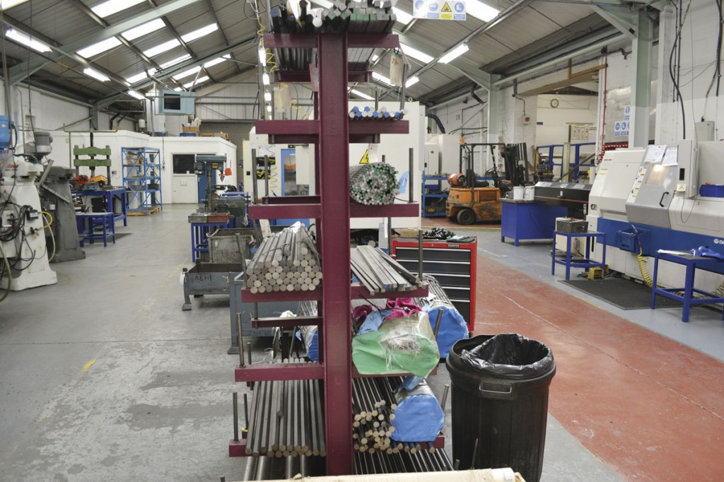 Inside the AE Harris metal working factory. The metal bars are machined in house to make a number of components used by Chapman Driver Seating