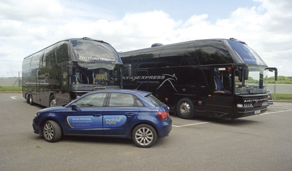Mobile Onboard's specially liveried engineer support car by Airlynx Express coaches. This vehicle is fitted with the company's Wi-Fi equipment
