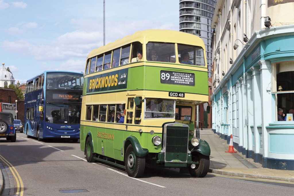 Seen across the road from Portsmouth dockyard gates is this East Lancs bodied Leyland TD5