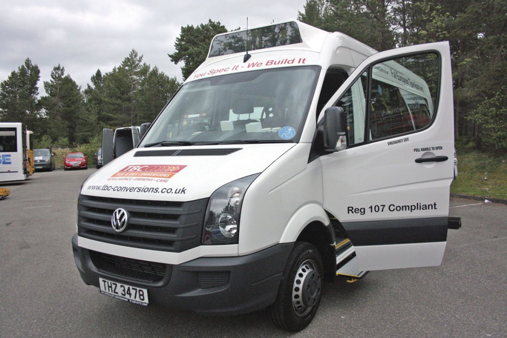 TBC's conversion of the VW Crafter CR50. It can carry up to 16 seated passengers or alternatively six wheelchair passengers loaded through the rear doors