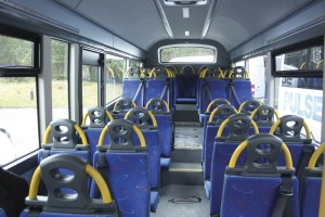 The Nu-Track directly wheelchair accessible Nu-Vibe developed using Wrightbus technology - interior