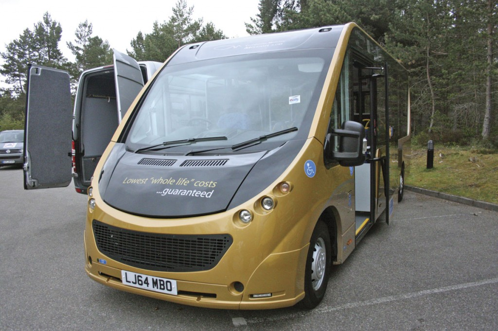 The Plastisol plastic bodied Mission directly wheelchair accessible minibus. It is fitted out by O&H and is available with either diesel power or full electric drive