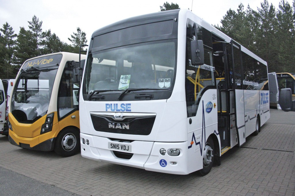 The biggest bus at the Show was the Nu-Track Pulse accessible. It carries 34 passengers or up to eight wheelchairs and eight seated passengers. Wheelchairs are loaded at the rear