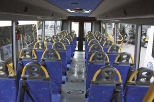 The biggest bus at the Show was the Nu-Track Pulse accessible. It carries 34 passengers or up to eight wheelchairs and eight seated passengers. Wheelchairs are loaded at the rear-interior