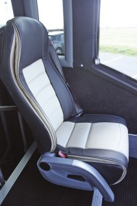 The courier seat mounted alongside the driver is to the same comfort standards as the saloon seats and effectively increases the seating capacity by one passenger