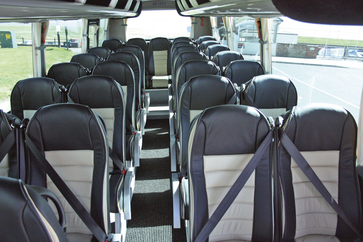 The interior with 120 Comfort Flair recliners. This vehicle has 29 seats in the saloon but it is also available with up to 33 seats