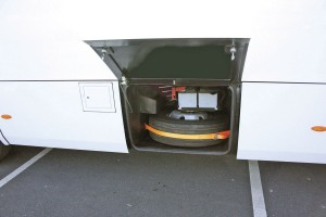 The spare wheel and batteries are housed in a locker on the offside