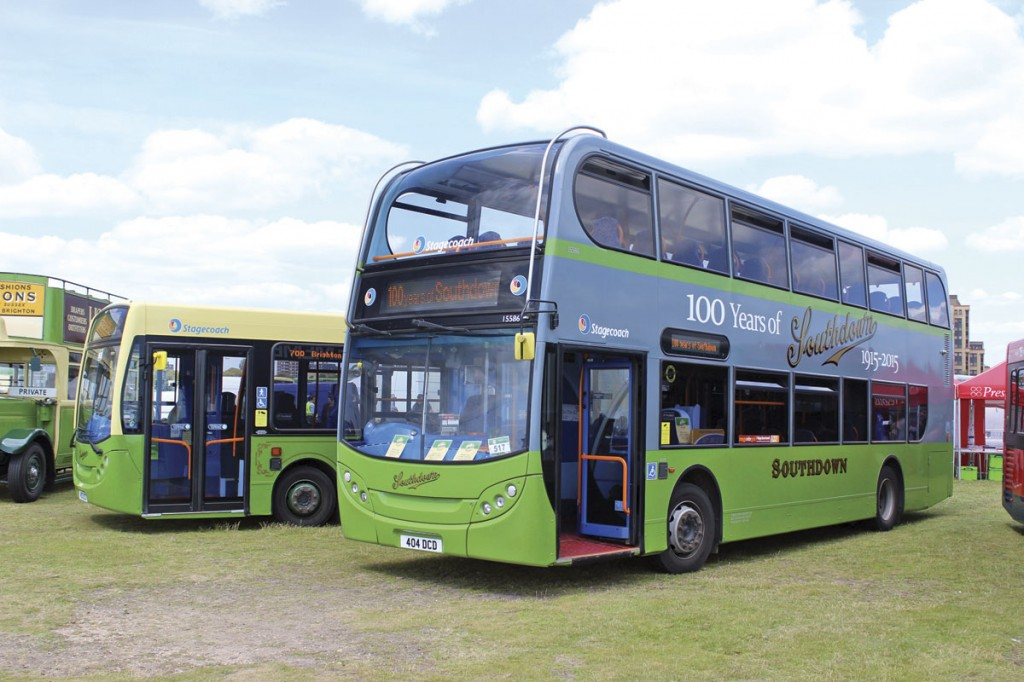 The two heritage liveried Stagecoach buses fronted the display