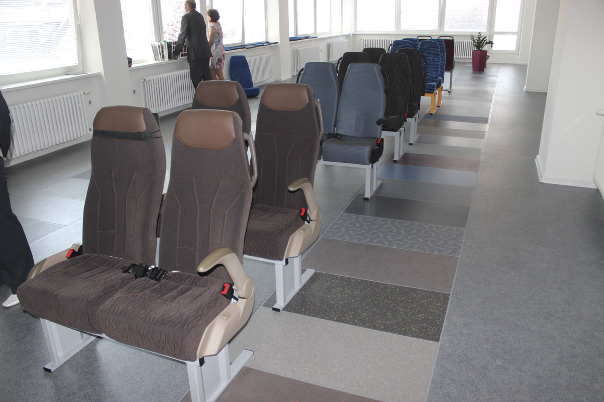 The upper floor of the Bus Design Centre showing the seats styles and floor coverings set into the floor