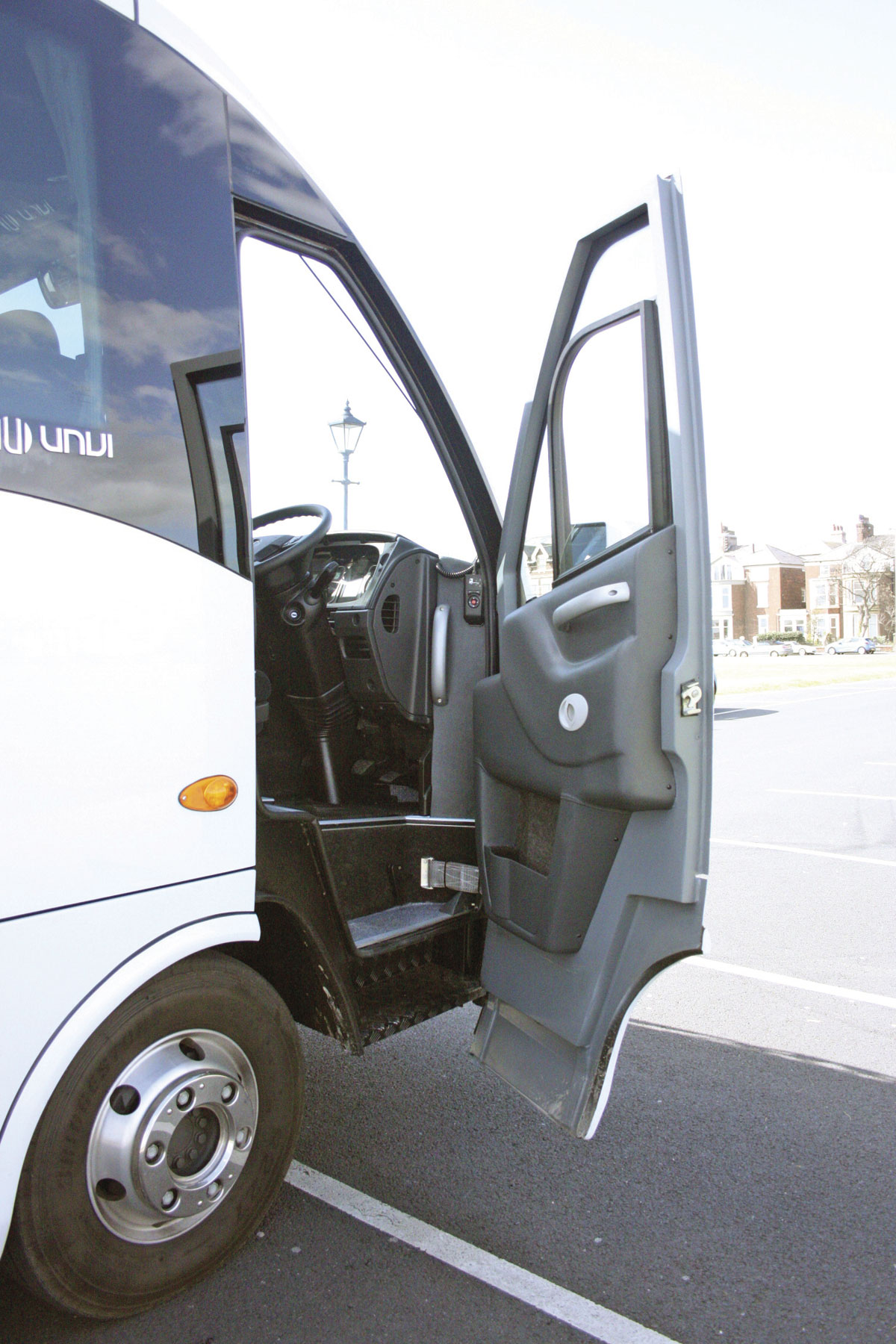 The vehicle is fitted with a driver's door incorporating well spaced, non slip steps