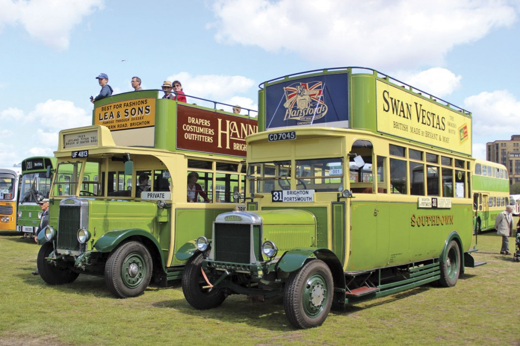 This pair of elderly open top Leylands double deckers are a Brush bodied Titan TD1 of 1929 (left) and a Short bodied G7 of 1922