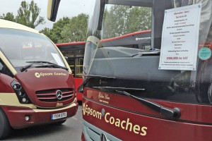 Two members of the front line Epsom Coaches fleet, the 2015 Mercedes-Benz Tourismo and a 2014 Plaxton Cheetah. Note the display in the windscreen which includes the vehicles price