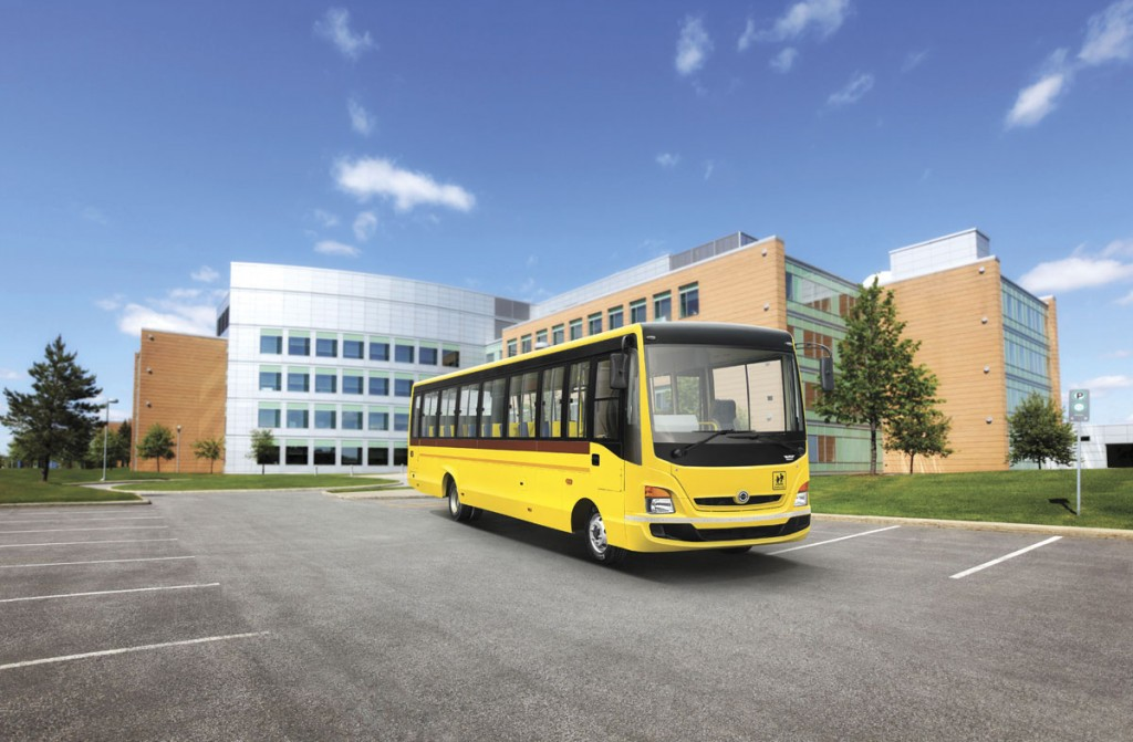 Wrightbus designed the aluminium bodywork for the range which includes tourist buses (red) and school buses (yellow). The white vehicle is a coach pic2