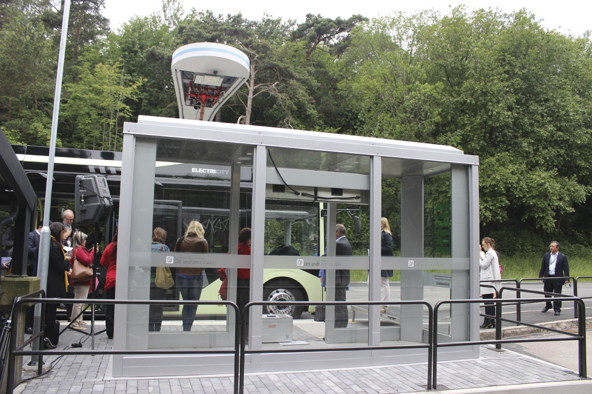 A 'silent' bus stop alongside one of the charging points
