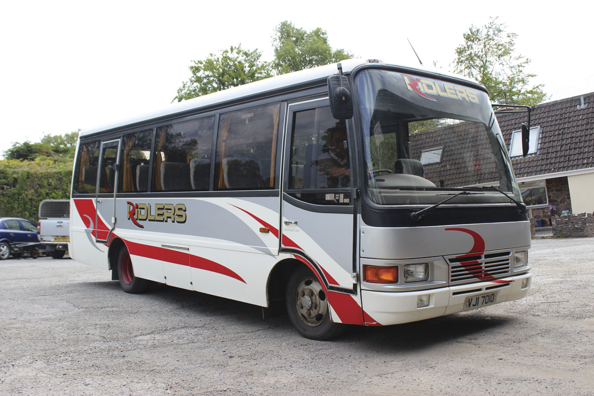 A 24 seat Toyota Optimo in the yard at Dulverton