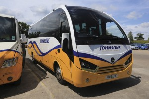 A 29-seat Mercedes-Benz Atego based Unvi Voyager recently added to the Johnson's Coaches fleet
