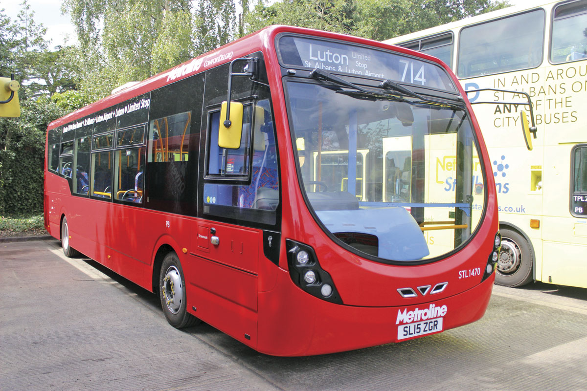 A Wrightbus Streetlite Door Forward demonstrator carrying branding for the new 714 service to Luton Airport